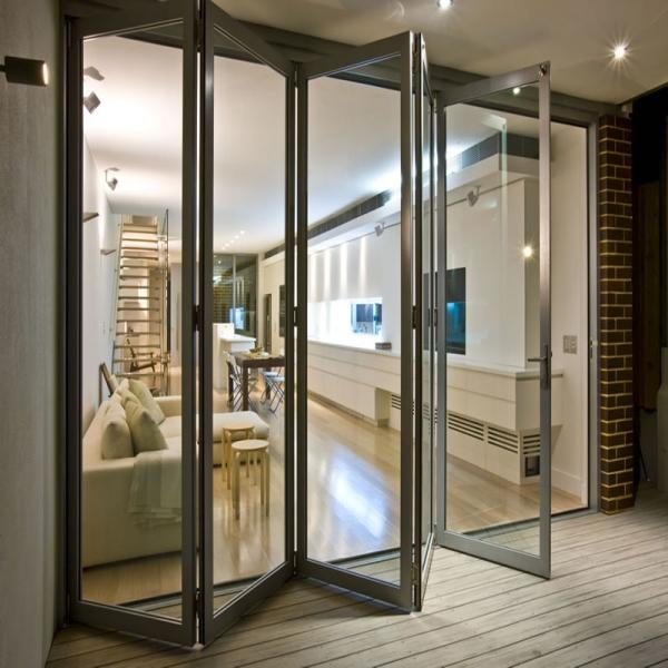 Aluminio de hermoso estilo patio puertas plegables puertas Puertas plegables de aluminio